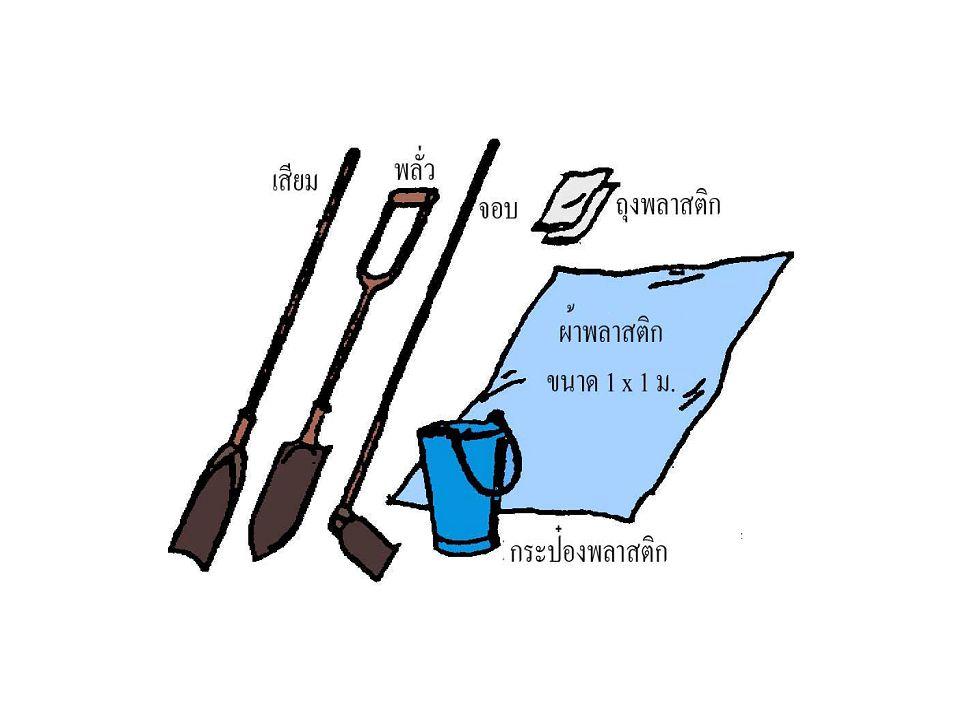 ขั้นตอนวิธีการ การเก็บตัวอย่างดิน 1) เก็บตัวอย่างดินก่อนปลูกพืช ให้กระจายทั่ว แปลงประมาณ 10–30 จุดต่อแปลง เก็บ ตัวอย่างดินระดับความลึกเท่ากับระดับไถ พรวน หรือเขตรากพืช ( ข้าว 10–15 ซม.