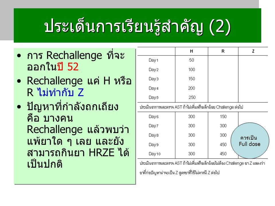 ประเด็นการเรียนรู้สำคัญ (2) การ Rechallenge ที่จะ ออกในปี 52 Rechallenge แค่ H หรือ R ไม่ทำกับ Z ปัญหาที่กำลังถกเถียง คือ บางคน Rechallenge แล้วพบว่า