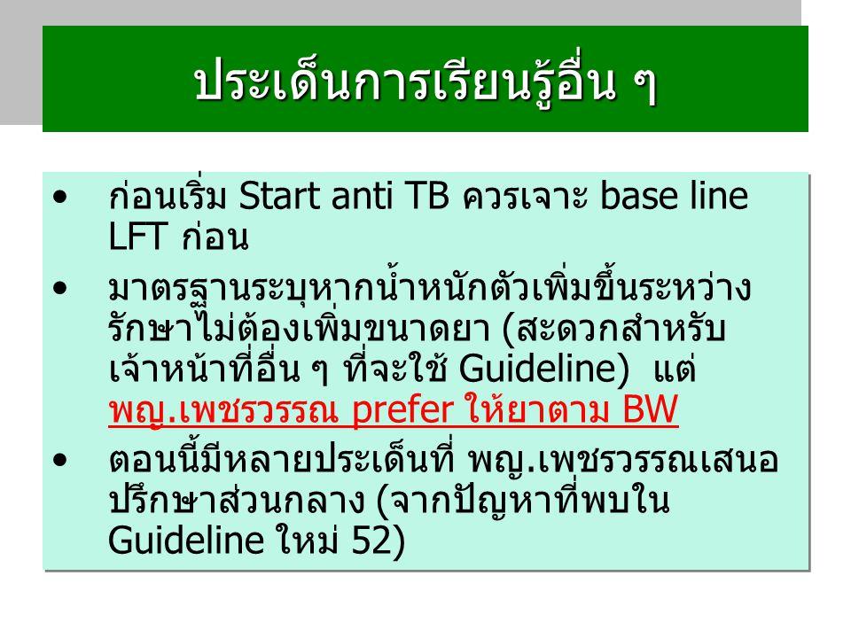 ประเด็นการเรียนรู้อื่น ๆ ก่อนเริ่ม Start anti TB ควรเจาะ base line LFT ก่อน มาตรฐานระบุหากน้ำหนักตัวเพิ่มขึ้นระหว่าง รักษาไม่ต้องเพิ่มขนาดยา (สะดวกสำหรับ เจ้าหน้าที่อื่น ๆ ที่จะใช้ Guideline) แต่ พญ.เพชรวรรณ prefer ให้ยาตาม BW ตอนนี้มีหลายประเด็นที่ พญ.เพชรวรรณเสนอ ปรึกษาส่วนกลาง (จากปัญหาที่พบใน Guideline ใหม่ 52) ก่อนเริ่ม Start anti TB ควรเจาะ base line LFT ก่อน มาตรฐานระบุหากน้ำหนักตัวเพิ่มขึ้นระหว่าง รักษาไม่ต้องเพิ่มขนาดยา (สะดวกสำหรับ เจ้าหน้าที่อื่น ๆ ที่จะใช้ Guideline) แต่ พญ.เพชรวรรณ prefer ให้ยาตาม BW ตอนนี้มีหลายประเด็นที่ พญ.เพชรวรรณเสนอ ปรึกษาส่วนกลาง (จากปัญหาที่พบใน Guideline ใหม่ 52)