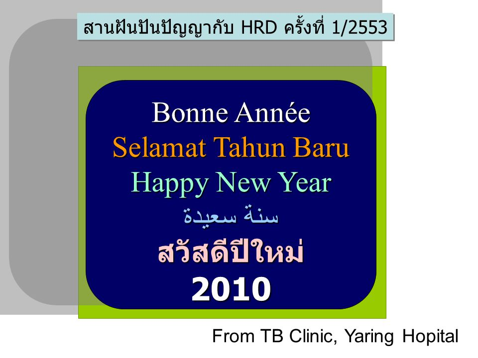 Bonne Année Selamat Tahun Baru Happy New Year سنة سعيدة สวัสดีปีใหม่2010 From TB Clinic, Yaring Hopital สานฝันปันปัญญากับ HRD ครั้งที่ 1/2553