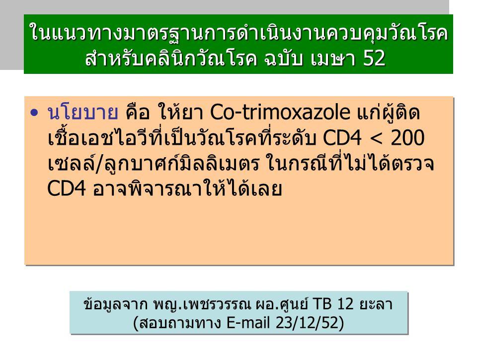 ในแนวทางมาตรฐานการดำเนินงานควบคุมวัณโรค สำหรับคลินิกวัณโรค ฉบับ เมษา 52 ในแนวทางมาตรฐานการดำเนินงานควบคุมวัณโรค สำหรับคลินิกวัณโรค ฉบับ เมษา 52 นโยบาย คือ ให้ยา Co-trimoxazole แก่ผู้ติด เชื้อเอชไอวีที่เป็นวัณโรคที่ระดับ CD4 < 200 เซลล์/ลูกบาศก์มิลลิเมตร ในกรณีที่ไม่ได้ตรวจ CD4 อาจพิจารณาให้ได้เลย ข้อมูลจาก พญ.เพชรวรรณ ผอ.ศูนย์ TB 12 ยะลา (สอบถามทาง E-mail 23/12/52)