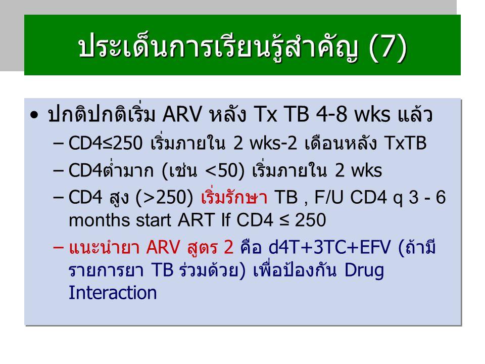 ประเด็นการเรียนรู้สำคัญ (7) TB+HIV อาจต้องใช้ยา TB ถึง 9 เดือน ข้อมูลเพิ่มเติมจาก พญ.เพชรวรรณ (สอบถามวันที่ 23/12/52)