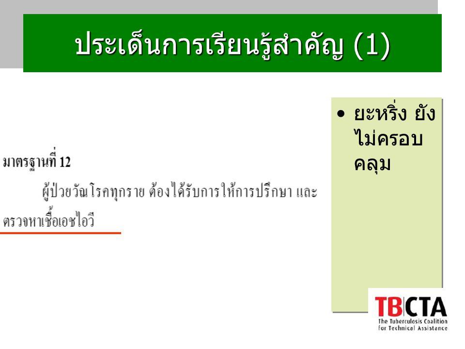 ประเด็นการเรียนรู้สำคัญ (1) ยะหริ่ง : TB+HIV ยังไม่ Bactrim ทุกราย