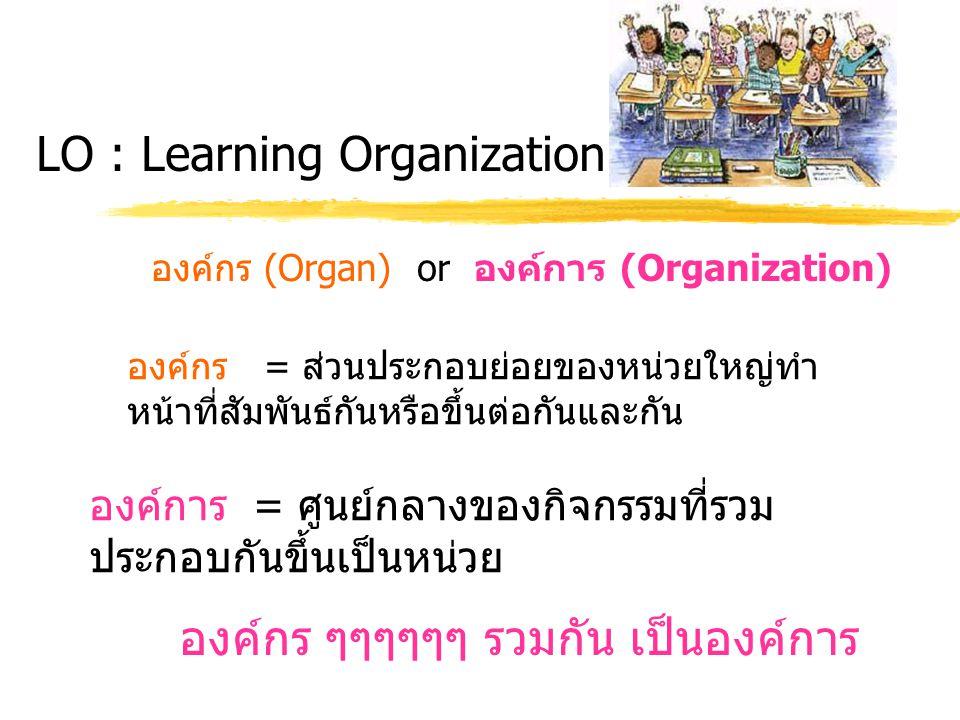 LO : Learning Organization องค์กร (Organ) or องค์การ (Organization) องค์การ = ศูนย์กลางของกิจกรรมที่รวม ประกอบกันขึ้นเป็นหน่วย องค์กร = ส่วนประกอบย่อย