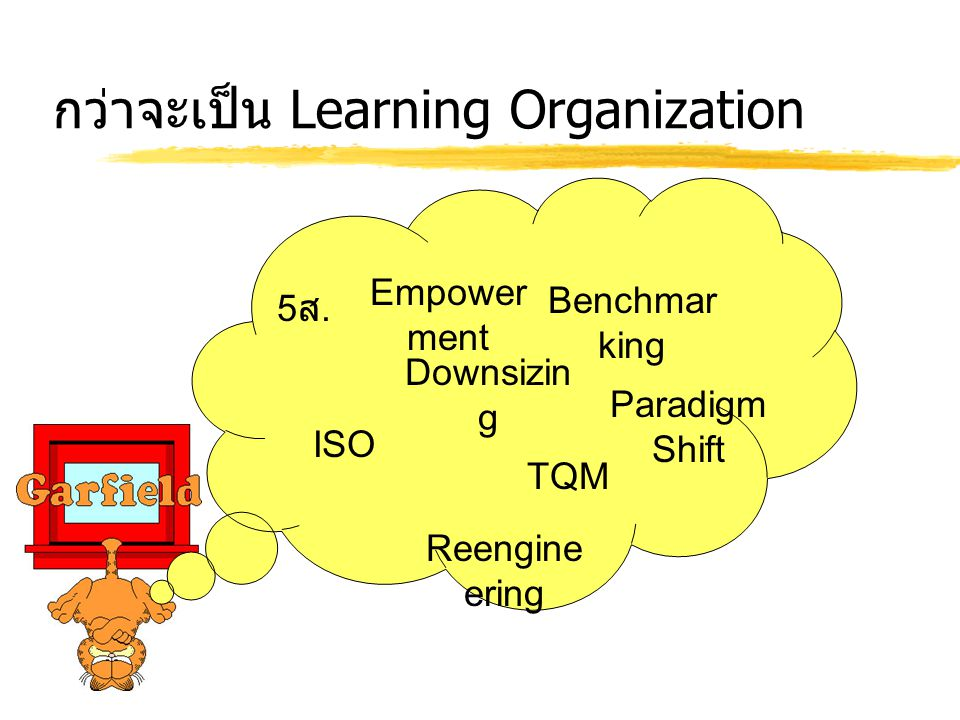 กว่าจะเป็น Learning Organization TQM Benchmar king Downsizin g Paradigm Shift Empower ment Reengine ering ISO 5ส.5ส.