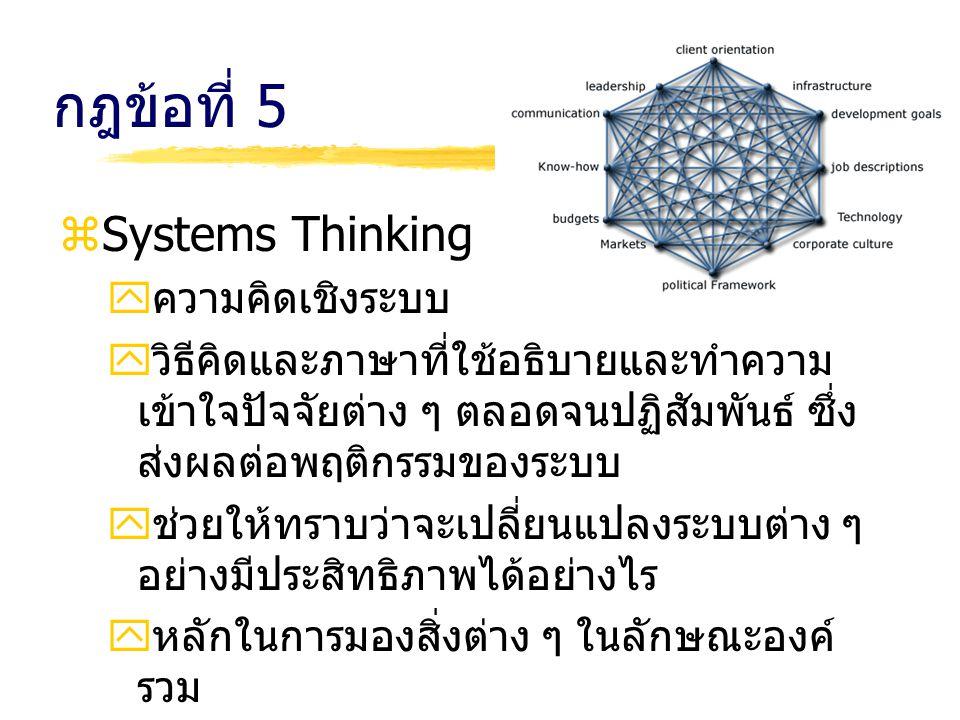 กฎข้อที่ 5 zSystems Thinking yความคิดเชิงระบบ yวิธีคิดและภาษาที่ใช้อธิบายและทำความ เข้าใจปัจจัยต่าง ๆ ตลอดจนปฏิสัมพันธ์ ซึ่ง ส่งผลต่อพฤติกรรมของระบบ y