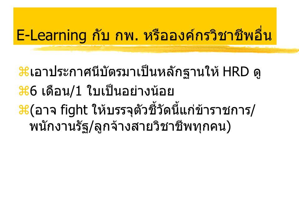 E-Learning กับ กพ. หรือองค์กรวิชาชีพอื่น zเอาประกาศนีบัตรมาเป็นหลักฐานให้ HRD ดู z6 เดือน/1 ใบเป็นอย่างน้อย z(อาจ fight ให้บรรจุตัวชี้วัดนี้แก่ข้าราชก