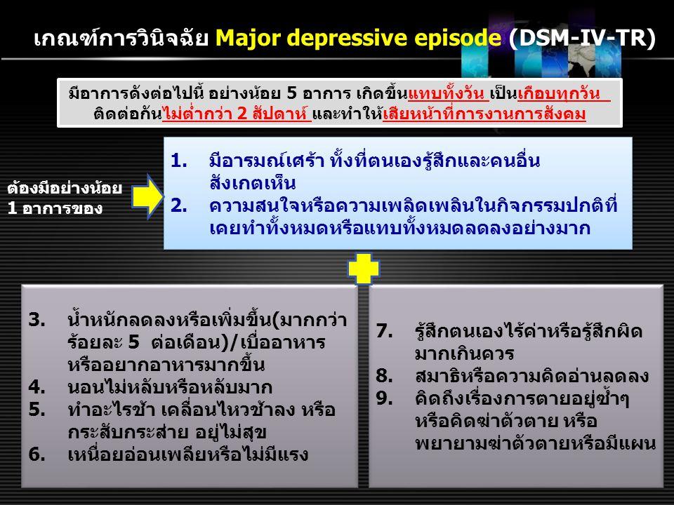 เกณฑ์การวินิจฉัย Major depressive episode (DSM-IV-TR) มีอาการดังต่อไปนี้ อย่างน้อย 5 อาการ เกิดขึ้นแทบทั้งวัน เป็นเกือบทุกวัน ติดต่อกันไม่ต่ำกว่า 2 สั