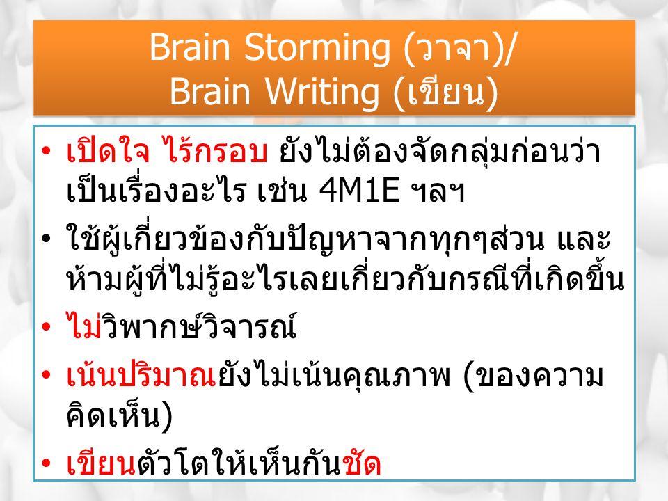 Brain Storming (วาจา)/ Brain Writing (เขียน) เปิดใจ ไร้กรอบ ยังไม่ต้องจัดกลุ่มก่อนว่า เป็นเรื่องอะไร เช่น 4M1E ฯลฯ ใช้ผู้เกี่ยวข้องกับปัญหาจากทุกๆส่วน