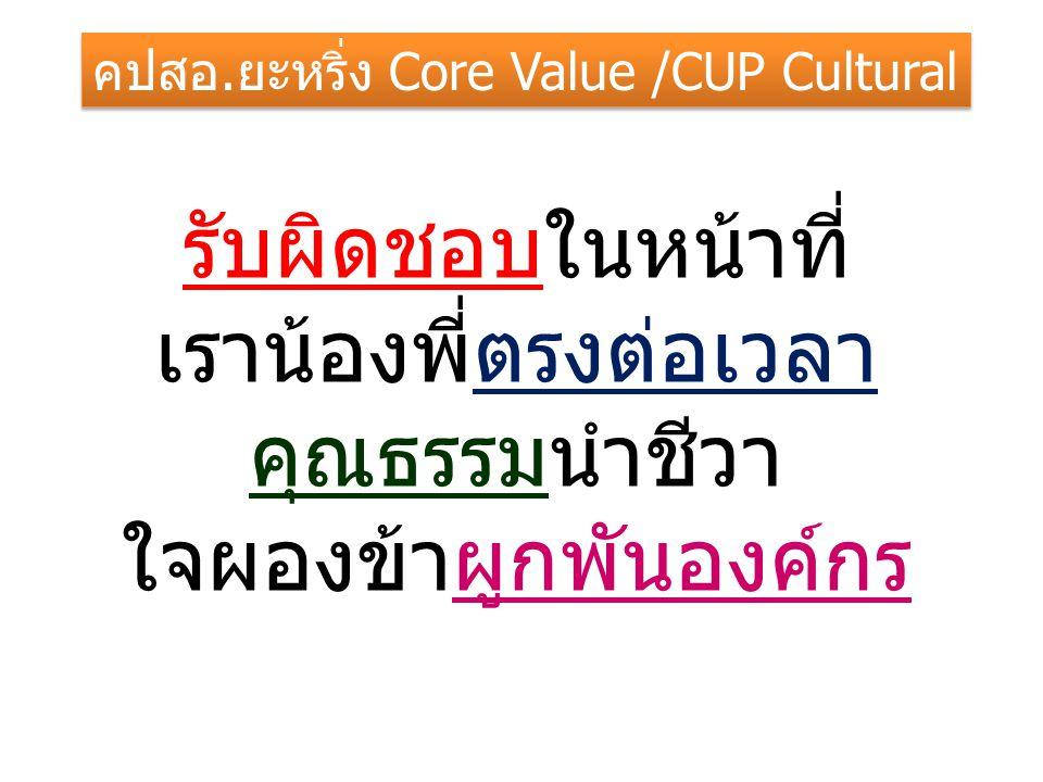 รับผิดชอบในหน้าที่ เราน้องพี่ตรงต่อเวลา คุณธรรมนำชีวา ใจผองข้าผูกพันองค์กร คปสอ.ยะหริ่ง Core Value /CUP Cultural