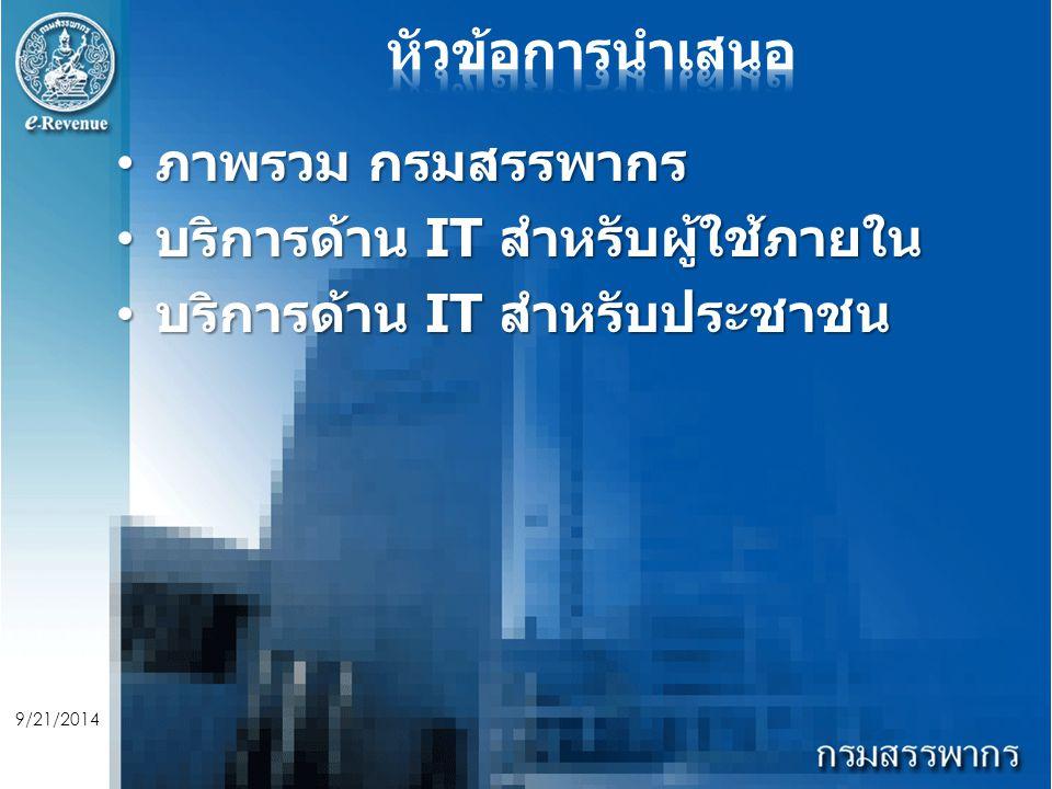 9/21/2014 ภาพรวม กรมสรรพากร ภาพรวม กรมสรรพากร บริการด้าน IT สำหรับผู้ใช้ภายใน บริการด้าน IT สำหรับผู้ใช้ภายใน บริการด้าน IT สำหรับประชาชน บริการด้าน IT สำหรับประชาชน