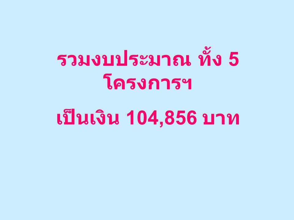 รวมงบประมาณ ทั้ง 5 โครงการฯ เป็นเงิน 104,856 บาท