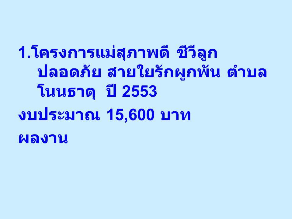 1. โครงการแม่สุภาพดี ชีวีลูก ปลอดภัย สายใยรักผูกพัน ตำบล โนนธาตุ ปี 2553 งบประมาณ 15,600 บาท ผลงาน