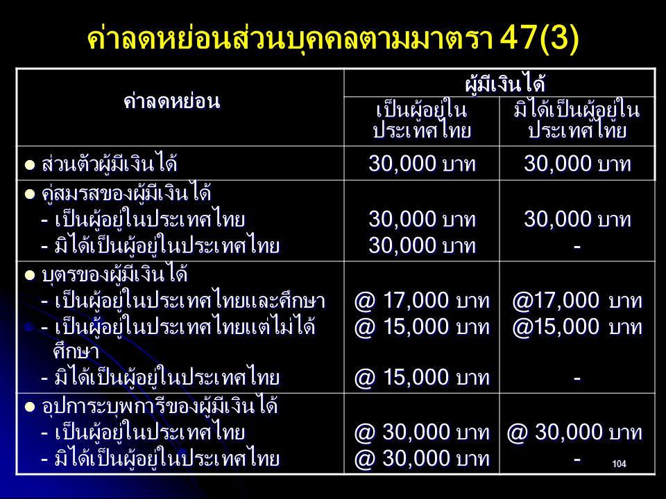 104 ค่าลดหย่อนส่วนบุคคลตามมาตรา 47(3) เป็นผู้อยู่ใน ประเทศไทย มิได้เป็นผู้อยู่ใน ประเทศไทย ส่วนตัวผู้มีเงินได้ ส่วนตัวผู้มีเงินได้ 30,000 บาท คู่สมรสข