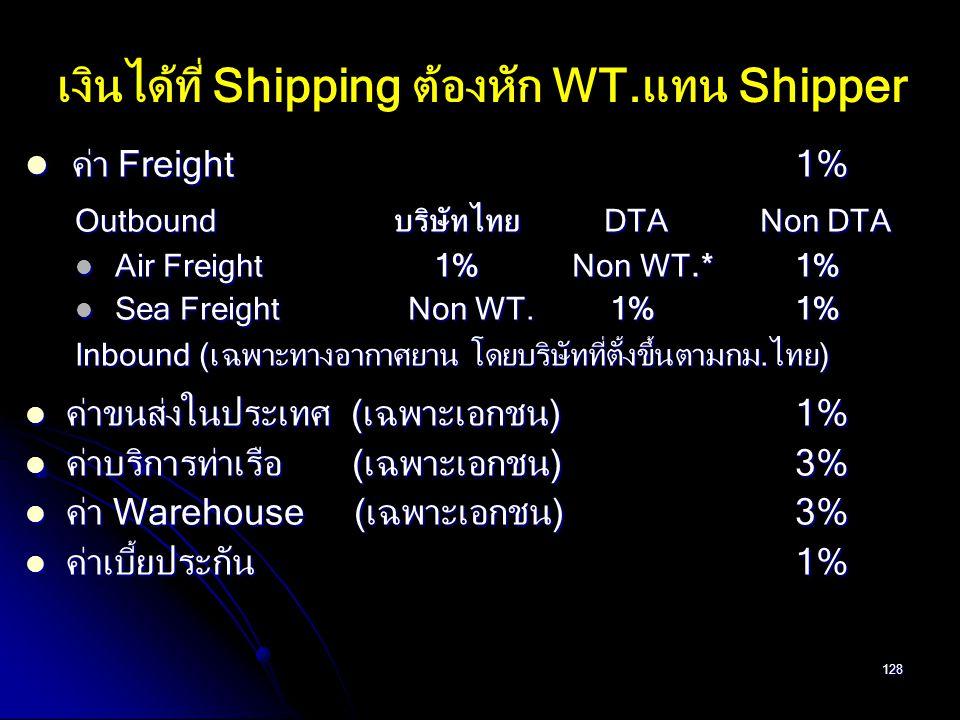 128 ค่า Freight 1% ค่า Freight 1% Outbound บริษัทไทย DTA Non DTA Air Freight 1% Non WT.* 1% Air Freight 1% Non WT.* 1% Sea Freight Non WT. 1% 1% Sea F