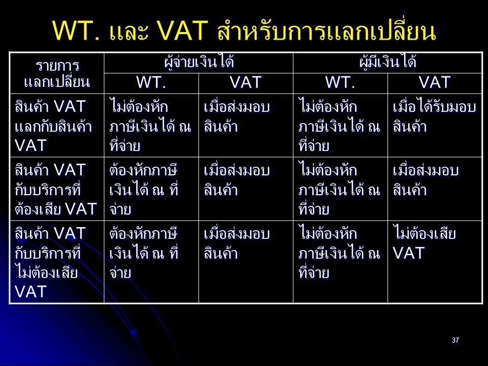 37 WT. และ VAT สำหรับการแลกเปลี่ยน รายการแลกเปลี่ยนผู้จ่ายเงินได้ผู้มีเงินได้ WT.VATWT.VAT สินค้า VAT แลกกับสินค้า VAT ไม่ต้องหัก ภาษีเงินได้ ณ ที่จ่า