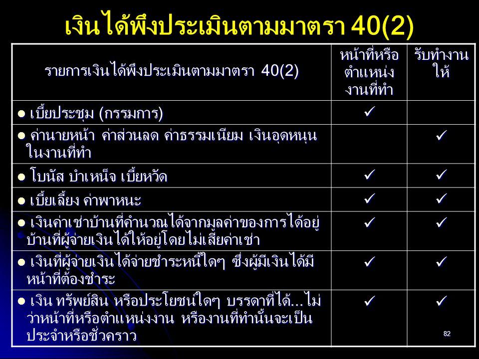 82 เงินได้พึงประเมินตามมาตรา 40(2) รายการเงินได้พึงประเมินตามมาตรา 40(2) หน้าที่หรือ ตำแหน่ง งานที่ทำ รับทำงาน ให้ เบี้ยประชุม (กรรมการ) เบี้ยประชุม (