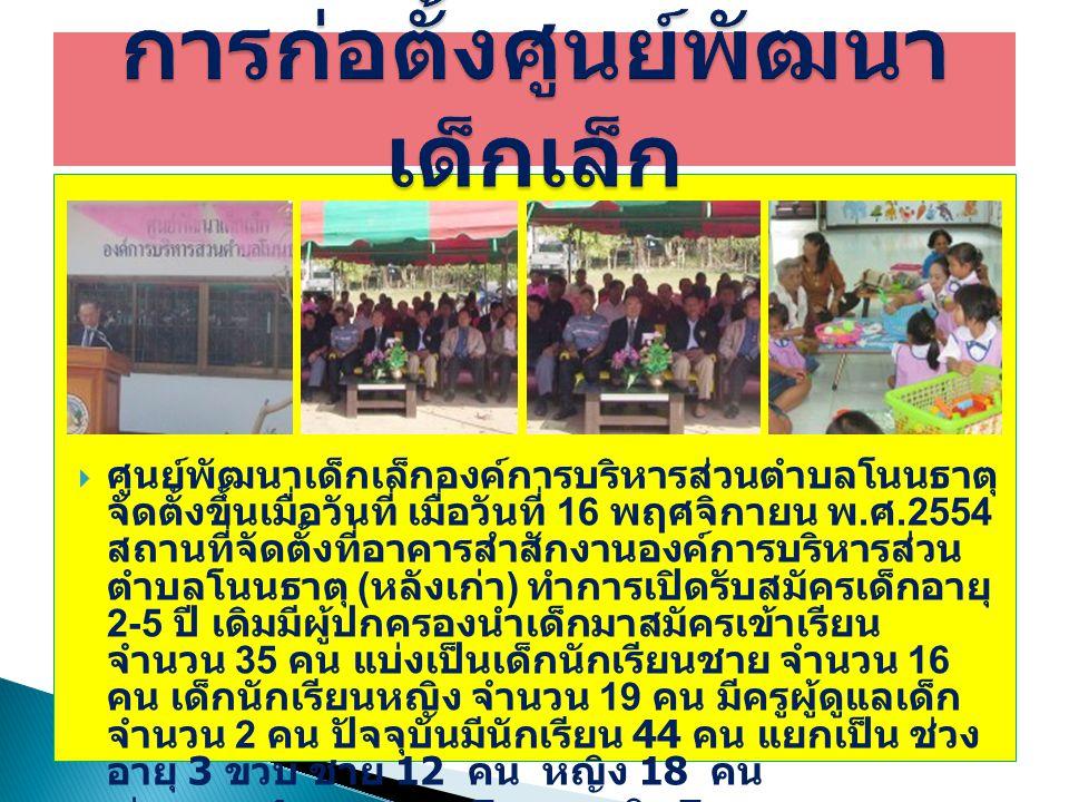  ศูนย์พัฒนาเด็กเล็กองค์การบริหารส่วนตำบลโนนธาตุ จัดตั้งขึ้นเมื่อวันที่ เมื่อวันที่ 16 พฤศจิกายน พ. ศ.2554 สถานที่จัดตั้งที่อาคารสำสักงานองค์การบริหาร