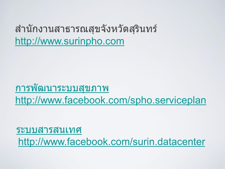การพัฒนาระบบสุขภาพ http://www.facebook.com/spho.serviceplan ระบบสารสนเทศ http://www.facebook.com/surin.datacenter สำนักงานสาธารณสุขจังหวัดสุรินทร์ htt