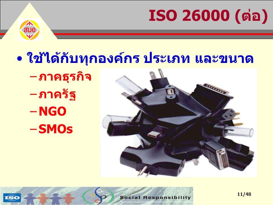 11/48 ISO 26000 (ต่อ) ใช้ได้กับทุกองค์กร ประเภท และขนาด –ภาคธุรกิจ –ภาครัฐ –NGO –SMOs