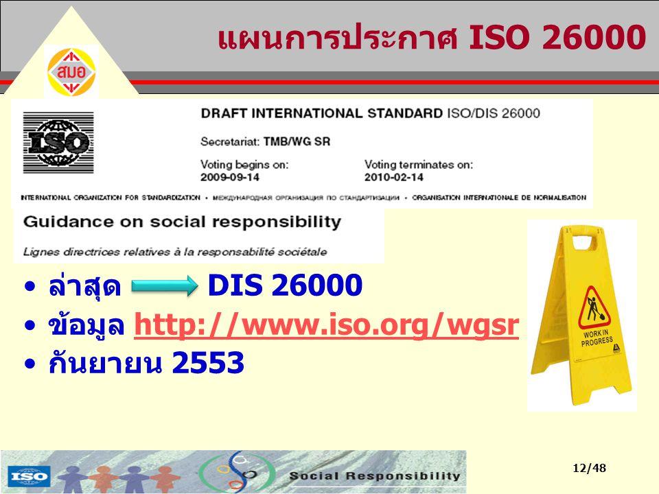 12/48 แผนการประกาศ ISO 26000 ล่าสุด DIS 26000 ข้อมูล http://www.iso.org/wgsrhttp://www.iso.org/wgsr กันยายน 2553