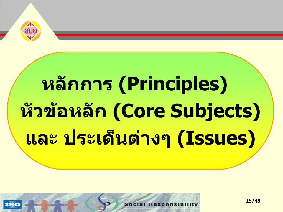 15/48 หลักการ (Principles) หัวข้อหลัก (Core Subjects) และ ประเด็นต่างๆ (Issues)