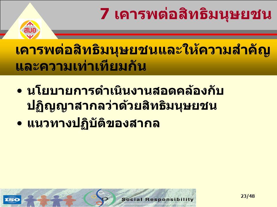 23/48 7 เคารพต่อสิทธิมนุษยชน นโยบายการดำเนินงานสอดคล้องกับ ปฏิญญาสากลว่าด้วยสิทธิมนุษยชน แนวทางปฏิบัติของสากล เคารพต่อสิทธิมนุษยชนและให้ความสำคัญ และค
