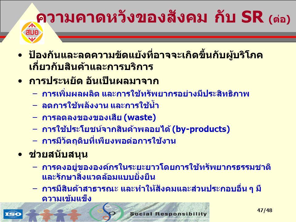 47/48 ความคาดหวังของสังคม กับ SR (ต่อ) ป้องกันและลดความขัดแย้งที่อาจจะเกิดขึ้นกับผู้บริโภค เกี่ยวกับสินค้าและการบริการ การประหยัด อันเป็นผลมาจาก –การเ