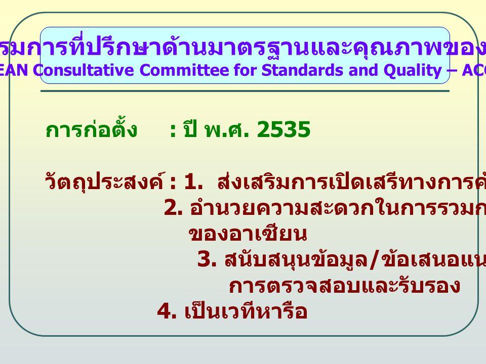 คณะกรรมการที่ปรึกษาด้านมาตรฐานและคุณภาพของอาเซียน (ASEAN Consultative Committee for Standards and Quality – ACCSQ) การก่อตั้ง : ปี พ.