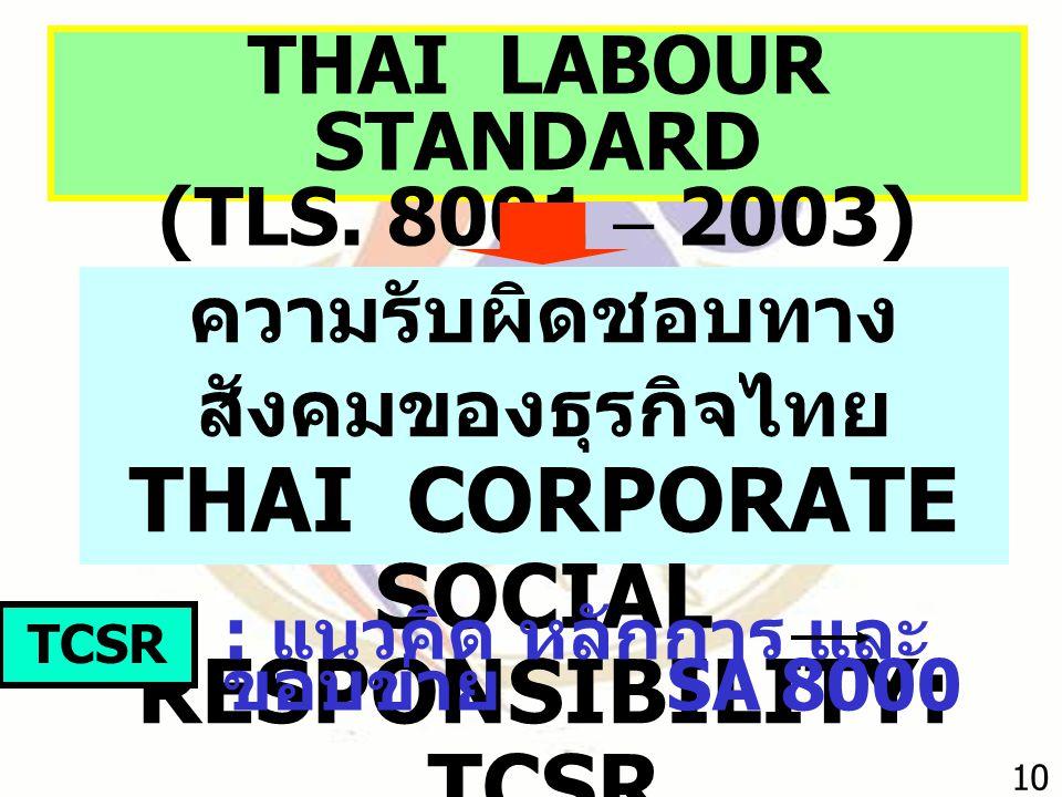 THAI LABOUR STANDARD (TLS. 8001 – 2003) ความรับผิดชอบทาง สังคมของธุรกิจไทย THAI CORPORATE SOCIAL RESPONSIBILITY: TCSR TCSR : แนวคิด หลักการ และ ขอบข่า