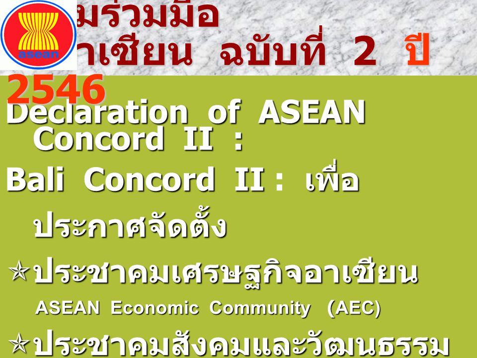  ให้จัดตั้งประชาคมอาเซียน ASEAN Community ให้แล้วเสร็จ ภายในปี 2558  จัดโครงสร้างองค์กรของ อาเซียน รองรับภารกิจ พันธกิจ เป็นนิติบุคคล เป็น หลักการไปร่าง พันธกิจ เป็นนิติบุคคล เป็น หลักการไปร่าง กฎบัตรอาเซียน (ASEAN Charter) ที่ทำหน้าที่ กฎบัตรอาเซียน (ASEAN Charter) ที่ทำหน้าที่ เป็น ธรรมนูญ การบริหาร ปกครอง เป็น ธรรมนูญ การบริหาร ปกครอง กลุ่มประเทศอาเซียน กลุ่มประเทศอาเซียน ประชุมสุดยอด ผู้นำอาเซียน ครั้งที่ 12 ปี 2550 ที่ เซบู ประชุมสุดยอด ผู้นำอาเซียน ครั้งที่ 12 ปี 2550 ที่ เซบู