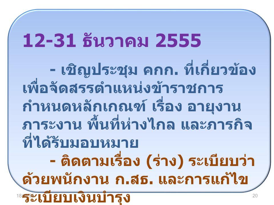 12-31 ธันวาคม 2555 - เชิญประชุม คกก. ที่เกี่ยวข้อง เพื่อจัดสรรตำแหน่งข้าราชการ กำหนดหลักเกณฑ์ เรื่อง อายุงาน ภาระงาน พื้นที่ห่างไกล และภารกิจ ที่ได้รั