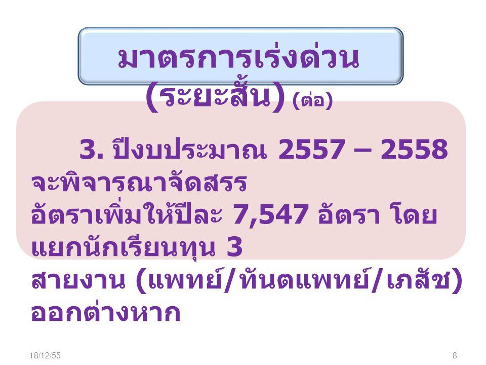 18/12/559 1.กระทรวงสาธารณสุข ปรับ ระบบฐานข้อมูลให้ครบถ้วน และเป็น ปัจจุบัน เชื่อมโยงกับ ก.