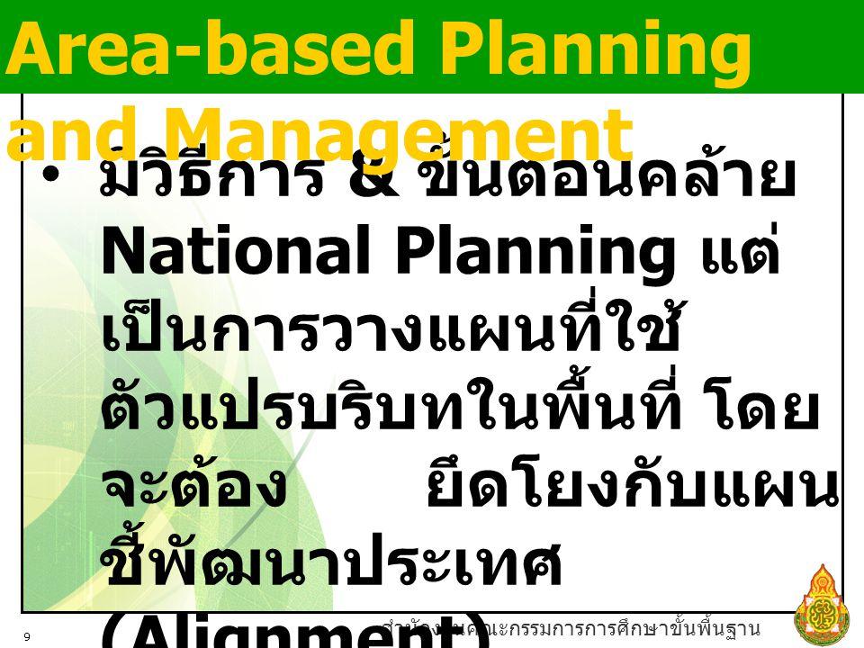สำนักงานคณะกรรมการการศึกษาขั้นพื้นฐาน 9 มีวิธีการ & ขั้นตอนคล้าย National Planning แต่ เป็นการวางแผนที่ใช้ ตัวแปรบริบทในพื้นที่ โดย จะต้อง ยึดโยงกับแผน ชี้พัฒนาประเทศ (Alignment) Area-based Planning and Management