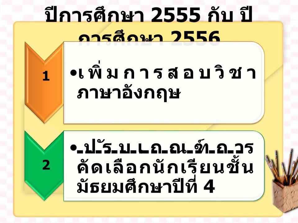 ปีการศึกษา 2555 กับ ปี การศึกษา 2556 เพิ่มการสอบวิชา ภาษาอังกฤษ 1 ปรับเกณฑ์การ คัดเลือกนักเรียนชั้น มัธยมศึกษาปีที่ 4 2