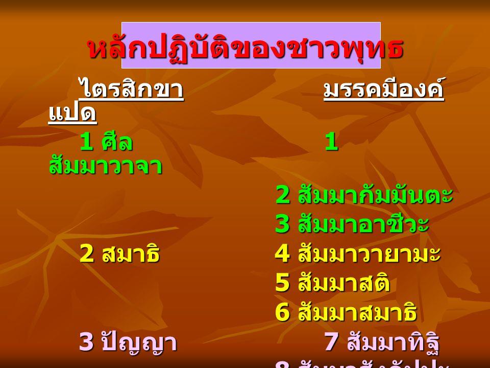 หลักปฏิบัติของชาวพุทธ ไตรสิกขามรรคมีองค์ แปด ไตรสิกขามรรคมีองค์ แปด 1 ศีล 1 สัมมาวาจา 2 สัมมากัมมันตะ 3 สัมมาอาชีวะ 2 สมาธิ 4 สัมมาวายามะ 5 สัมมาสติ 6