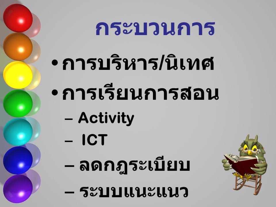 กระบวนการ การบริหาร / นิเทศ การเรียนการสอน – Activity – ICT – ลดกฎระเบียบ – ระบบแนะแนว