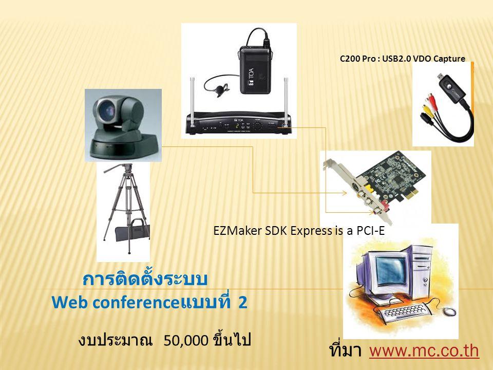 C200 Pro : USB2.0 VDO Capture EZMaker SDK Express is a PCI-E การติดตั้งระบบ Web conference แบบที่ 2 ที่มา www.mc.co.thwww.mc.co.th งบประมาณ 50,000 ขึ้