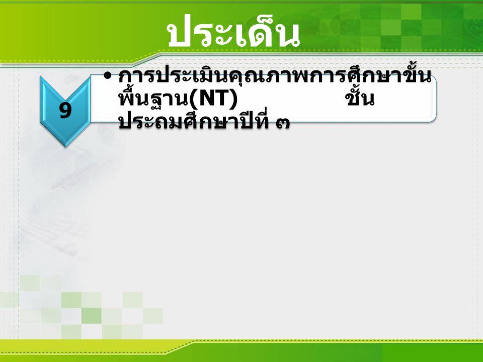 ประเด็น 9 9 การประเมินคุณภาพการศึกษาขั้น พื้นฐาน (NT) ชั้น ประถมศึกษาปีที่ ๓