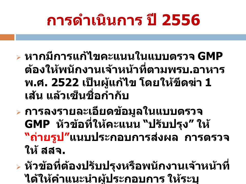 การดำเนินการ ปี 2556  หากมีการแก้ไขคะแนนในแบบตรวจ GMP ต้องให้พนักงานเจ้าหน้าที่ตามพรบ. อาหาร พ. ศ. 2522 เป็นผู้แก้ไข โดยให้ขีดฆ่า 1 เส้น แล้วเซ็นชื่อ