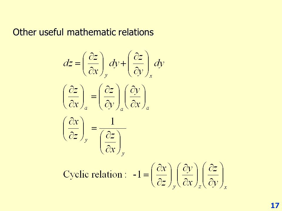 17 Other useful mathematic relations