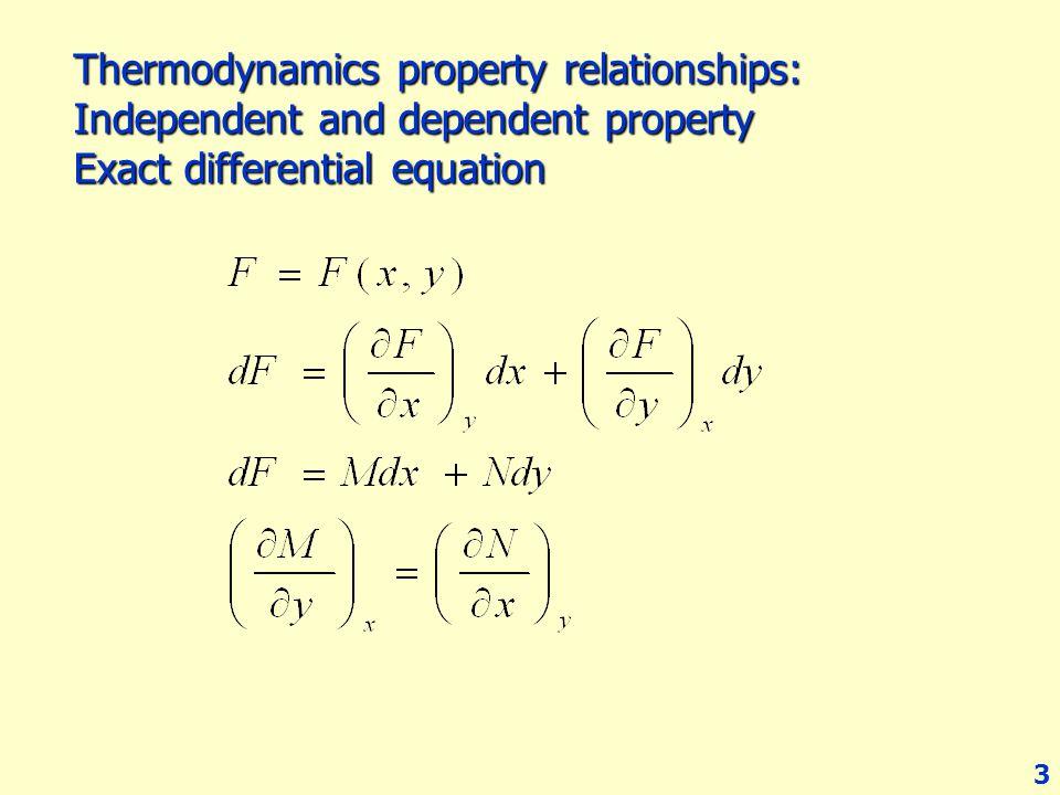 14 ถ้า n = 1 mol dU = TdS – PdV dH = TdS + VdP dA = - PdV – SdT dG = VdP – SdT ถ้าใช้หลักของ exact differential equation กับ ทั้ง 4 สมการ จะได้ความสัมพันธ์ใหม่ที่เรียกว่า Maxwell's equation