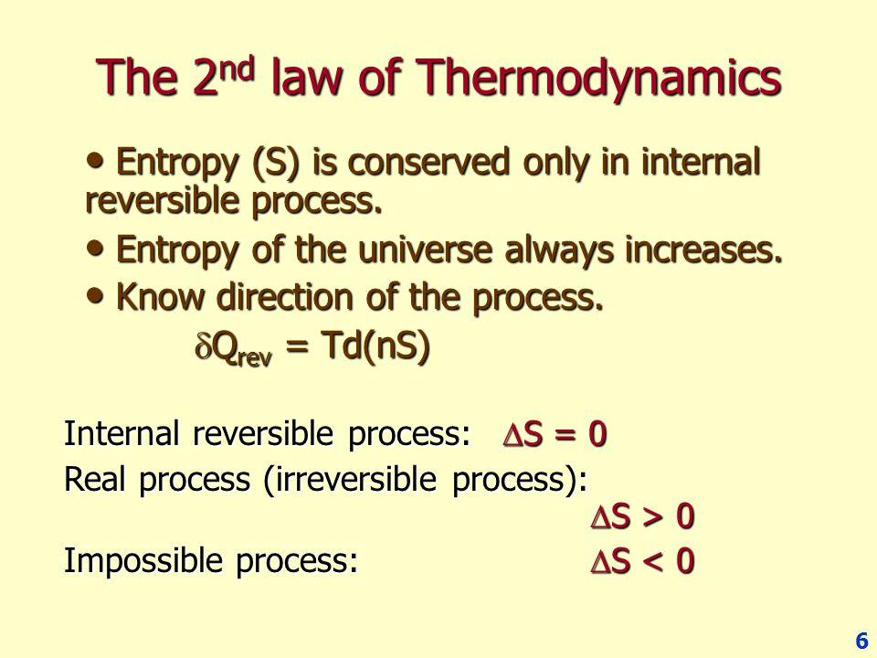 7 Thermodynamic Properties of Fluids 1 st Lawd(nU) =  Q +  W d(nU) =  Q rev +  W rev  W rev = - Pd(nV) 2 nd Law  Q rev = Td(nS) Combine 2 laws:d(nU) = Td(nS) – Pd(nV) System Q W - ++ -