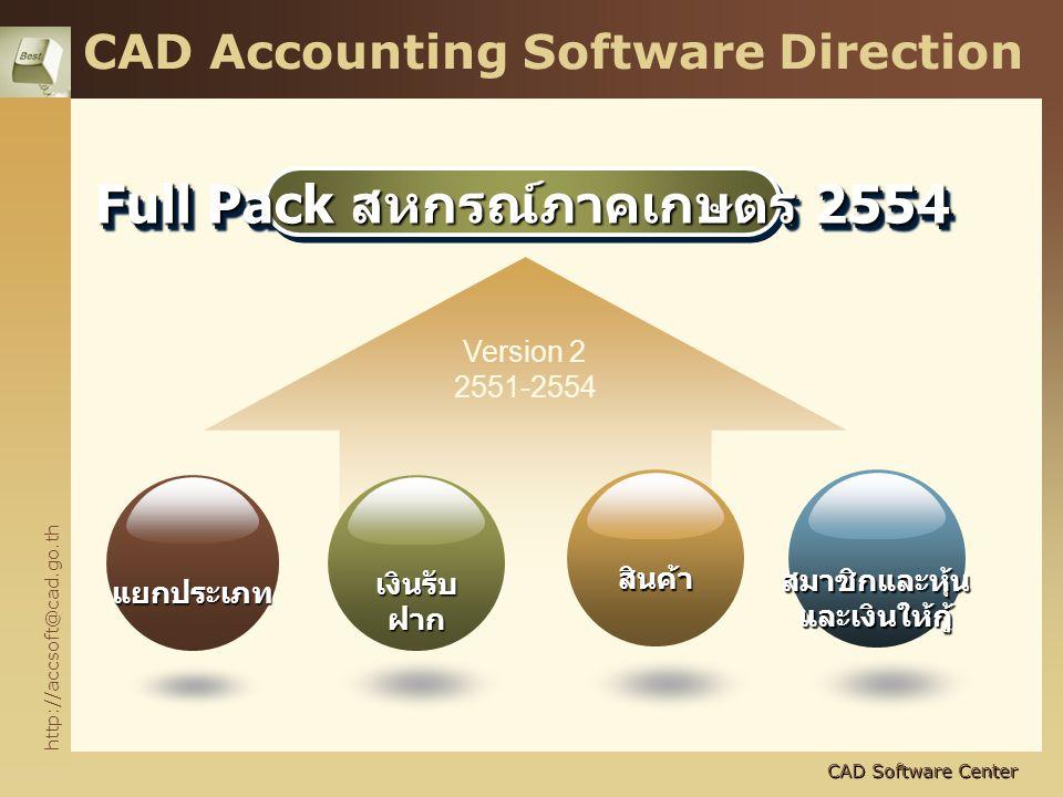 http://accsoft@cad.go.th CAD Software Center CAD Accounting Software Direction Full Pack สหกรณ์ภาคเกษตร 2554 Version 2 2551-2554 แยกประเภท สมาชิกและหุ