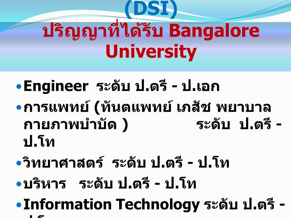Garden City College ปริญญาที่ได้รับ Bangalore University Management ระดับ ป.