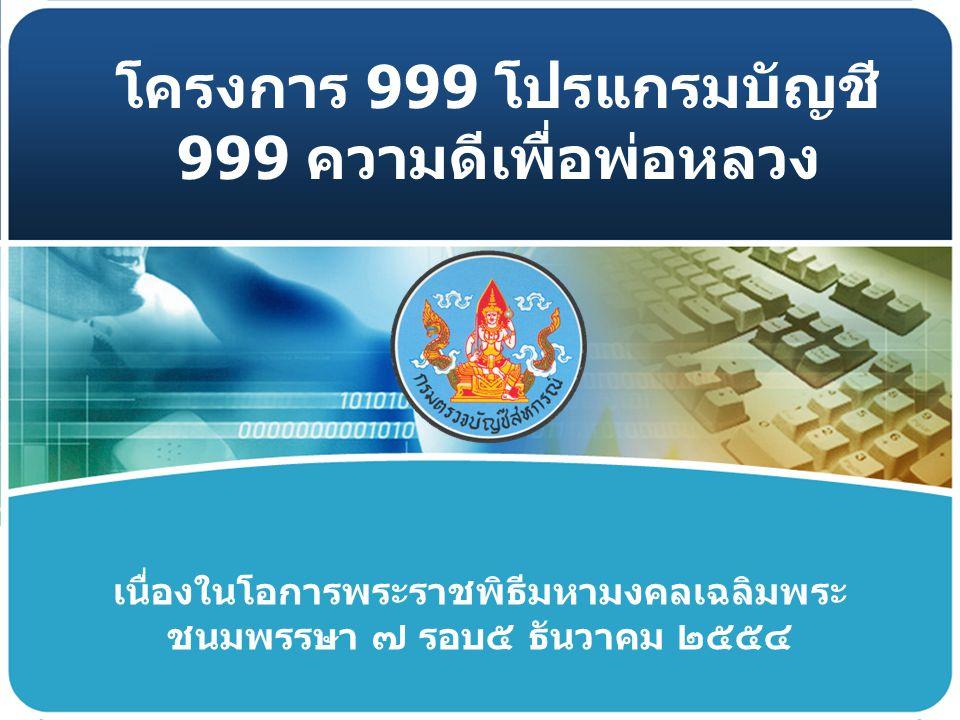 โครงการ 999 โปรแกรมบัญชี 999 ความดีเพื่อพ่อหลวง วัตถุประสง ค์ เป้าหมาย ระยะเวลา ดำเนินการ ตัวชี้วัด งบประมา ณ * เพื่อเฉลิมพระเกียรติพระบาทสมเด็จพระ เจ้าอยู่หัวในโอกาส พระราชพิธีมหามงคลเฉลิมพระชนพรรษา 7 รอบ * เพื่อส่งเสริมให้สหกรณ์ใช้โปรแกรมระบบ บัญชีสหกรณ์ครบ วงจรอย่างมีประสิทธิภาพ * สหกรณ์ทุกประเภท 999 สหกรณ์ ซึ่งเป็น สหกรณ์ที่เริ่มใช้ หรืออยู่ระหว่าง ยกยอด หรือบันทึกรายการย้อนหลัง หรือ บันทึกรายการเป็นปัจจุบัน แต่ยัง ไม่ปรับเปลี่ยนระบบ * กุมภาพันธ์ – สิงหาคม 2554 * สหกรณ์ที่ใช้โปรแกรมระบบบัญชีสหกรณ์ ครบวงจร จำนวน 999 สหกรณ์ มีการปรับเปลี่ยนระบบอย่างน้อย 3 ระบบ * ค่าใช้จ่ายในการกำกับแนะนำสหกรณ์ละ 3,000 บาท * ค่าใช้จ่ายการลงนามให้สัตยาบรรณ สหกรณ์ละ 200 บาท กตส.