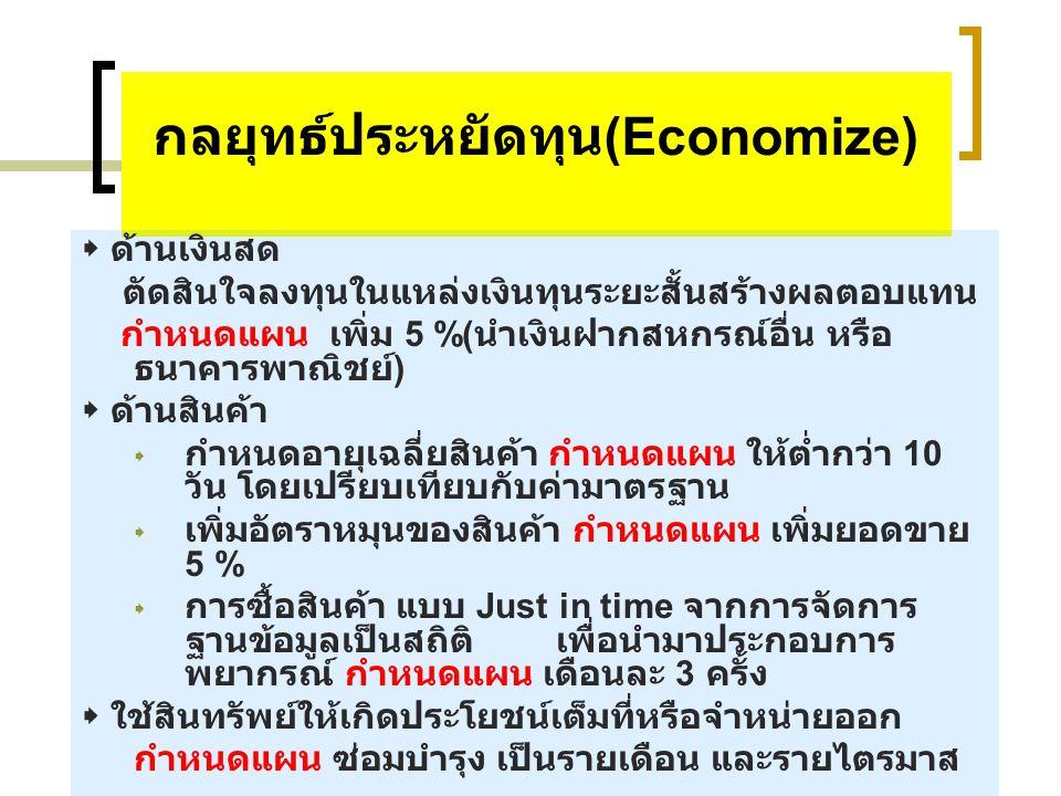 กลยุทธ์ประหยัดทุน (Economize)  ด้านเงินสด ตัดสินใจลงทุนในแหล่งเงินทุนระยะสั้นสร้างผลตอบแทน กำหนดแผน เพิ่ม 5 %( นำเงินฝากสหกรณ์อื่น หรือ ธนาคารพาณิชย์ )  ด้านสินค้า  กำหนดอายุเฉลี่ยสินค้า กำหนดแผน ให้ต่ำกว่า 10 วัน โดยเปรียบเทียบกับค่ามาตรฐาน  เพิ่มอัตราหมุนของสินค้า กำหนดแผน เพิ่มยอดขาย 5 %  การซื้อสินค้า แบบ Just in time จากการจัดการ ฐานข้อมูลเป็นสถิติ เพื่อนำมาประกอบการ พยากรณ์ กำหนดแผน เดือนละ 3 ครั้ง  ใช้สินทรัพย์ให้เกิดประโยชน์เต็มที่หรือจำหน่ายออก กำหนดแผน ซ่อมบำรุง เป็นรายเดือน และรายไตรมาส