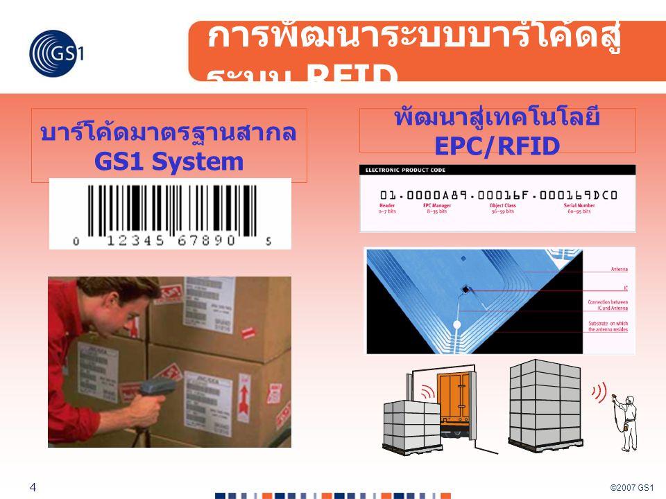 ©2007 GS1 4 การพัฒนาระบบบาร์โค้ดสู่ ระบบ RFID บาร์โค้ดมาตรฐานสากล GS1 System พัฒนาสู่เทคโนโลยี EPC/RFID