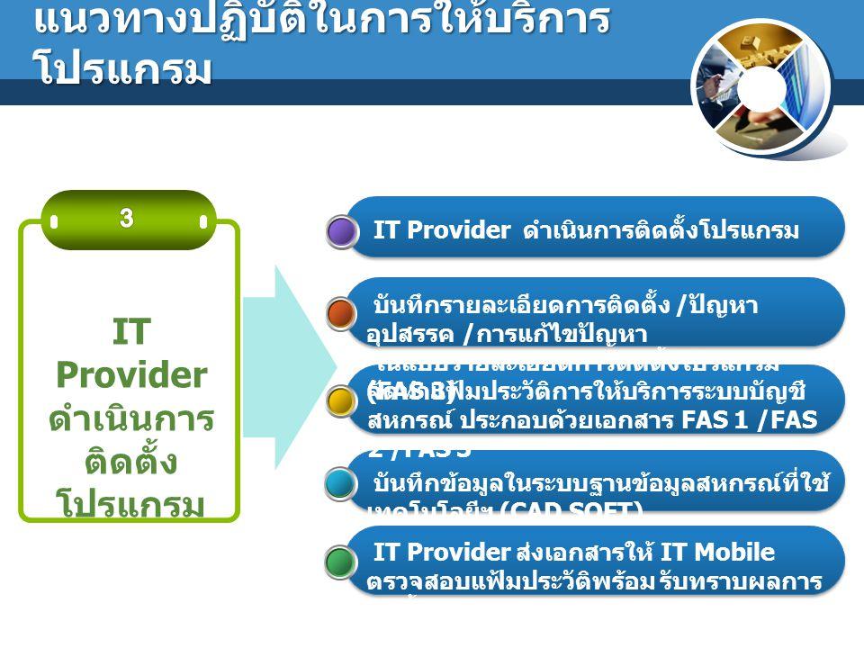 IT Provider ดำเนินการ ติดตั้ง โปรแกรม บันทึกรายละเอียดการติดตั้ง / ปัญหา อุปสรรค / การแก้ไขปัญหา ในแบบรายละเอียดการติดตั้งโปรแกรม (FAS 3) แนวทางปฏิบัต