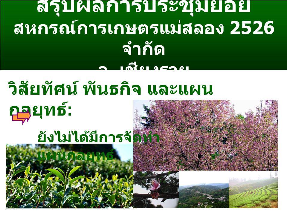 สรุปผลการประชุมย่อย สหกรณ์การเกษตรแม่สลอง 2526 จำกัด จ.
